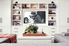 Family Room Cabinet. Built-in Family Room Cabinet. Built-in Family Room TV Cabinet Design. #BuiltinCabinet #BuiltinTVCabinet #FamilyRoomBuiltinTVCabinet. Burnham Design.
