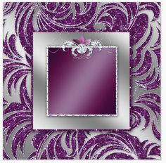silver & purple glitter - middle frame with diamond center bow - uploaded by Lynn White