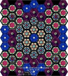 Frida's Flowers CAL 2016 - Jane Crowfoot : 네이버 블로그 Crochet Square Blanket, Crochet Squares Afghan, Crochet Square Patterns, Crochet Granny, Plaid Crochet, Love Crochet, Beautiful Crochet, Crochet Flowers, Crochet Carpet