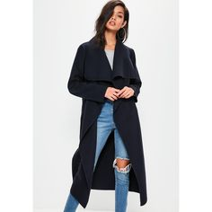 Missguided Oversized Long Sleeve Waterfall Duster Coat (195 BRL) ❤ liked on Polyvore featuring outerwear, coats, waterfall duster coat, navy coat, navy blue coats, missguided coats and oversized coat