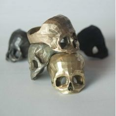 3D Printed Skull Rings handmade by robots in Brass, Bronze and Stainless Steel by Bits to Atoms