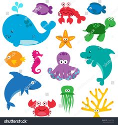 Sea Animals Clip Art Clipart Sea Creatures Clip Art by PinkPueblo Fish Clipart, Art Clipart, Rainbow Clipart, Photoshop Brushes, Handmade Crafts, Adobe Illustrator, Embroidery Patterns, Etsy, Clip Art