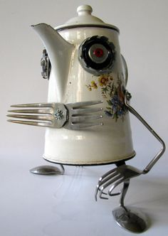 """RECYCLED reused robot SCULPTURE -   """"Relax  After Work"""" - Eco green art"""