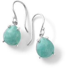 Ippolita Silver Rock Candy Pear Drop Earrings in Turquoise (1.625 RON) ❤ liked on Polyvore featuring jewelry, earrings, turquoise, drop earrings, pear earrings, ippolita earrings, silver turquoise jewelry and hammered earrings