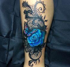 Just a tad smaller!- Just a tad smaller! Just a tad smaller! Badass Tattoos, Girl Leg Tattoos, Sexy Tattoos, Body Art Tattoos, Tattos, Lace Flower Tattoos, Blue Rose Tattoos, Lace Butterfly Tattoo, Black Lace Tattoo