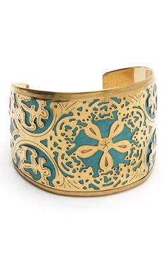 Gold & Light Blue Carved Cuff