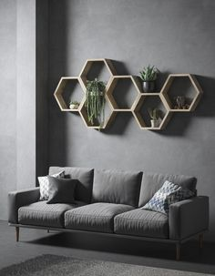 35 Stunning Floating Shelves For Living Room Decor Ideas - Have you ever tried to install a set of shelves only to find that the brackets get in the way? No matter how you change it around, you just can't seem. Hexagon Shelves, Wall Shelf Decor, Diy Wall Decor, Interior, Geometric Shelves, Honeycomb Shelves, Oak Shelves, Home Decor, Room Decor