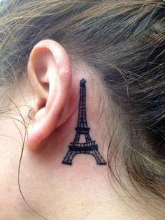 Uber cute Eiffel Tower ear Tattoo!