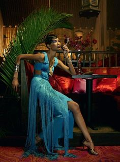 Roaring 20's – model chanel iman, vogue italia, photographed by emma summerton, turquoise cut out fringe gown, cyan