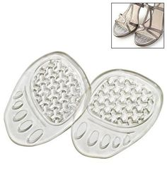 "Foot Works Gel Foot Cushions by Avon. $6.95. Get instant comfort and soothing relief. These gel inserts provide a soft cushion layer to keep feet feeling as great as they look. Gently massages the balls of feet each time you take a step. Clear design is also perfect for open-toed shoes! Set of 2. 3 1/2"" L x 2 5/8"" W x 1/8"" D."