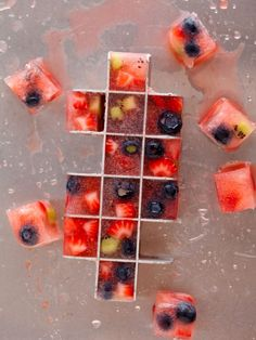 Frozen Fruit Ice Cubes . . . great for flavoring  water . . . . or add a colorful touch to any beverage . . .
