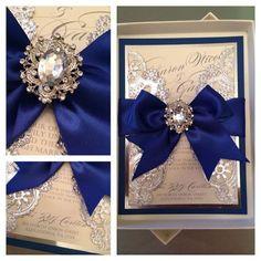 Wedding Invitations Royal Blue And Silver By AlexandriaLindo Vintage Lace  Grey Box Invitation