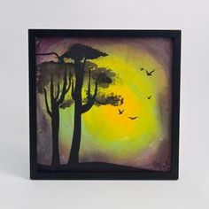 """Studio """"Winds of the Hallows"""" Silhouette Faux Water-Color Painting"""