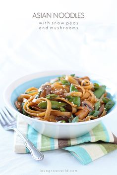Have dinner on the table in LESS THAN 20 minutes! These Asian Noodles with Snow Peas and Mushrooms combine fresh, healthy ingredients and a flavorful homemade sauce in less time than it takes to boil the noodles! You MUST try this delicious Asian-inspired dish! LoveGrowsWild.com Asian Noodles, Rice Noodles, Pasta Dishes, Food Dishes, Main Dishes, Oriental, Asian Recipes, Ethnic Recipes, Yummy Food