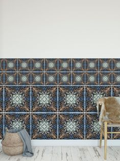 Dark Aveira Tile Stickers Full Tile Decal Vinyl Sticker Flooring Bathroom Kitchen Stair Self Adhesive Removable Peel and Stick Tile Decals, Accent Wall Colors Bedroom, Wall Decals, Self Adhesive Wallpaper, Mandala Wall Art, Vinyl Sticker, Bedroom Wall Colors, Vinyl, Plastic Sheets
