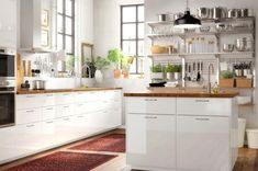 Wooden kitchen cupboards without handles cabinet ikea uk depot for knobs drilling and kit ideas doors White Kitchen Backsplash, Ikea Kitchen Cabinets, White Kitchen Island, White Cabinets, Ikea Kitchen Inspiration, Kitchen Ideas, Ikea Kitchen Design, Kitchen Designs Photos, Kitchen Gallery
