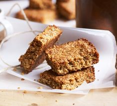 Bake our four-ingredient flapjacks – they're easy to make and ready in half-an-hour. Add chocolate drops, desiccated coconut or sultanas, if you like Baking Tins, Baking Recipes, Cake Recipes, Dessert Recipes, Vegan Recipes, Desserts, Syrup Recipes, Kids Baking, Picnic Recipes