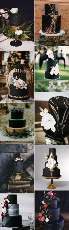 matte black wedding cakes for 2018 trends #weddingideas #blackweddingcakes #weddingcake