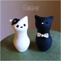 Meow Kitty Custom Wedding Cake Topper by derekwoolever on Etsy, $55.00