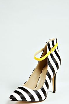 Iris Monochrome High Vamp Contrast Ankle Strap Heels at boohoo.com