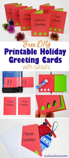 Send your loved ones DIY greeting cards this holiday season with these FREE printable holiday cards to print out and decorate with punched cutouts and contrasting paper colors. A simple project for all skills! #diycards #printablecards #diyholidaycards Diy Holiday Cards, Holiday Greeting Cards, Diy Cards, Holiday Decorations, Printable Cards, Free Printables, Diy Gifts For Him, Homemade Gifts, Christmas Crafts