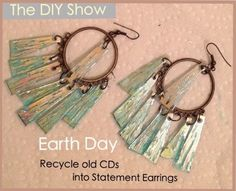 Earth Day is April RECYCLE USELESS CDs into Statement Earrings Don't let your useless CDs contribute to pollution and global warming. The CD Recycling Center of America encourages everyone to . Recycled Cds, Recycled Jewelry, Recycled Crafts, Repurposed, Cd Diy, Cd Crafts, Jewelry Crafts, Jewelry Ideas, Record Crafts