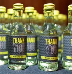 Chevron Thank You MiniWine Bottle Labels  Set of 9 by mdp7 on Etsy