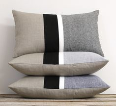 Black Striped Chambray Pillows by JILLIAN RENE DECOR