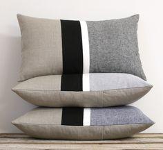 Black Striped Chambray Pillows by JILLIAN RENE DECOR