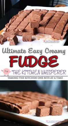 This is truly the Ultimate Easy Creamy No Fail Chocolate Fudge.  I took Mom's classic fudge recipe and modernized it – no more standing at the stove putting in a workout just to stir it. Just a few minutes is all it takes to make this seriously delicious, super creamy, no fail fudge! No Fail Fudge Recipe, Baked Fudge Recipe, Classic Fudge Recipe, No Bake Fudge, Easy Creamy Fudge Recipe, Fantasy Fudge Recipe, Delicious Fudge Recipe, Fudge Cake, Easy Chocolate Fudge