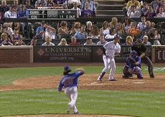 Carlos Gonzales nearly kills himself bunting. | 23 Hilarious Sports Fails