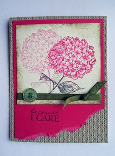 Because I care, Stampin' Up Card - great idea to stamp off for this set.