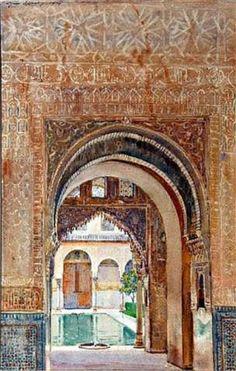 G.O.W. Apperley, Patio de los Arrayanes(2), Alhambra, Granada, acuarela. Watercolor Sketch, Watercolor Paintings, Oil Paintings, Granada, Cool Landscapes, Landscape Paintings, English Artists, Vintage Artwork, Barcelona Cathedral