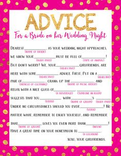 Wedding Night Mad Lib Bachelorette Party by JuneArborDesigns