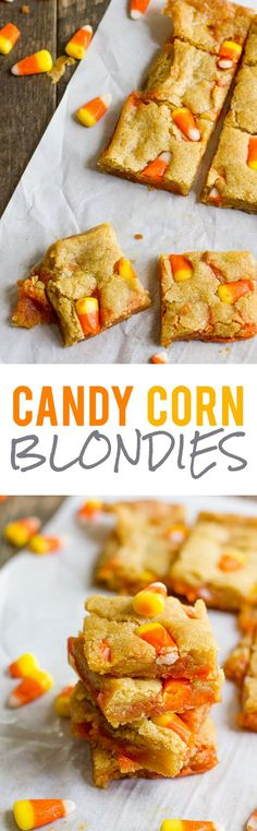 Candy Corn Blondies | These oooey, gooey, and rich Candy Corn Blondies are a fun and festive treat for your Halloween party. | Fall treats | Dessert | #candycorn