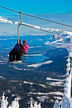 Beautiful Mt. Spokane Ski & Snowboard Park,  Chairlift, Spirit Lake ID, Vista House, Mead WA.