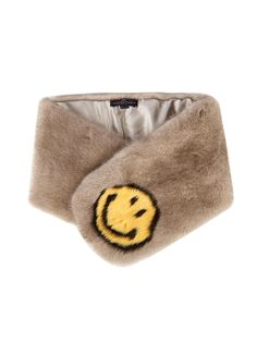 Windbreaker: Anya Hindmarch smiley face mink stole
