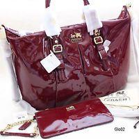100 Authentic Coach Patent Leather Crimson Madison Sophia Satchel 15921 199 00 Er Papabagsllc Purses