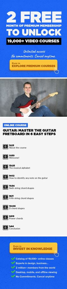 Guitar: Master The Guitar Fretboard in 6 Easy Steps Music, Music Composition, Music Production, Creative, Guitar, Instrument, Musical Instrument, Learn Guitar #onlinecourses #onlineclassesfree #learningphotography   This course begins with an explanation of how to make best of the course. You´ll realize how simple the guitar neck is laid out, AND completely open to YOUR access right now. I walk y...