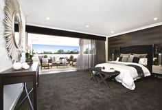 Clarendon Homes. Crestmead Master suite with parents' retreat. Master Suite, Master Bedroom, Clarendon Homes, Parents Room, Display Homes, Home Reno, Building A House, Modern Design, New Homes