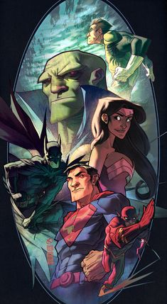 "Justice League_JLA_Batman, Superman, Flash, Green Lantern, Wonder Woman and Martian Manhunter (J'onn J'onzz) by Christopher ""Kweli-Malik"" Copeland (chriscopeland)"
