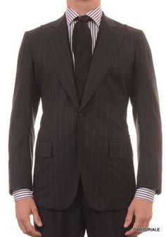 RUBINACCI LH London House Bespoke Gray Super 120's Peak Lapel Suit 48 NEW 38
