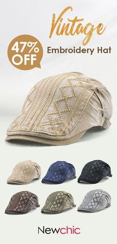 9c38d9296915a Men Vintage Soft Sunshade Cotton Adjustable Beret Cap Outdoor Travel  Leisure Stripe Embroidery Hat is hot sale on Newchic.