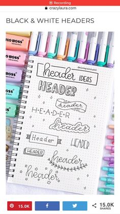 Check out the ultimate collection of bullet journal header and title ideas for inspiration! point journal ideas smash book Best Bullet Journal Header & Title Ideas For 2019 Bullet Journal School, Bullet Journal Headers, Bullet Journal Writing, Bullet Journal Banner, Bullet Journal Aesthetic, Bullet Journal Spread, Bullet Journal Inspo, Bullet Journal Layout, Bullet Journal Exercise Tracker