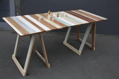 Rekindle now has unique trestle tables available for sale & hire. Each table is beautifully made from reused wood, lovingly salvaged from demolished, Christchurch homes from the earthquake / http://rekindle.org.nz