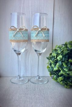 Beautiful green lace wedding glasses A personal favourite from my Etsy shop https://www.etsy.com/listing/525671338/rustic-wedding-glasses-champagne-flutes