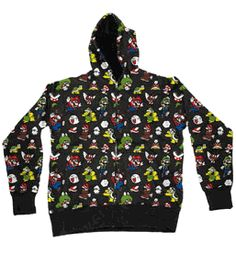 Nintendo Mario All Over Black Hooded Sweatshirt Hoodie