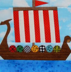 Viking long ship paper pieced PDF pattern; baby boy quilt pattern; foundation pieced dragon ship PDF quilt pattern; childs quilt pattern by MsPDesignsUSA on Etsy