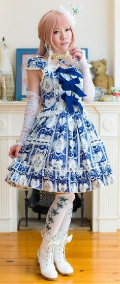Traditional Lolita Blue  White