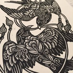 Lacey Law ~ The Birds ~ Woodcut Print